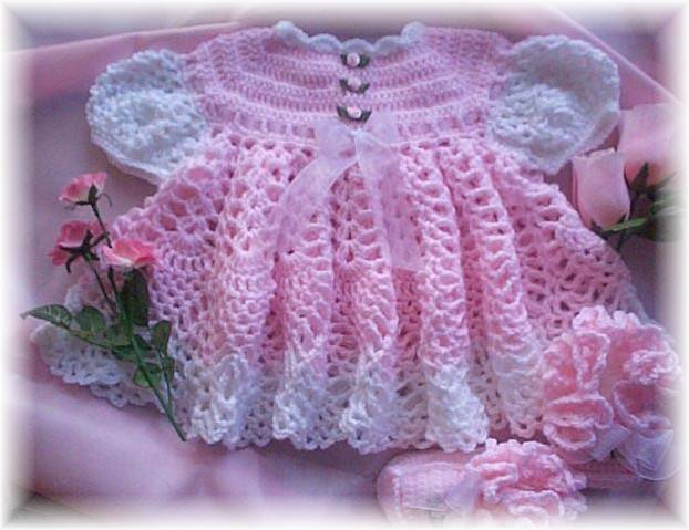 Vintage Crochet Baby Doll Dress Hat Shoes 15in Pattern