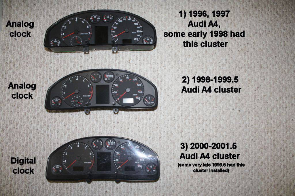 Understanding differences between Audi A4 clusters and the compatibility issues - AudiWorld Forums